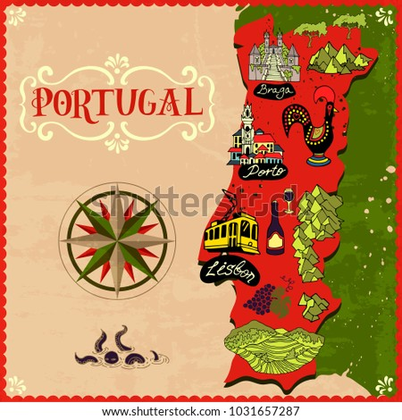 Illustrated Map of Portugal. Travel and attractions