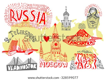 illustrated map of russia