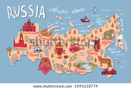 illustrated map of russia with