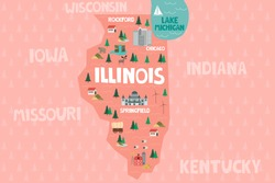 Illustrated map of the state of Illinois in United States with cities and landmarks. Editable vector illustration
