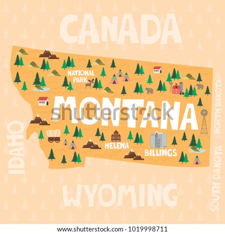 Illustrated map of the state of Montana in United States with cities and landmarks. Editable vector illustration