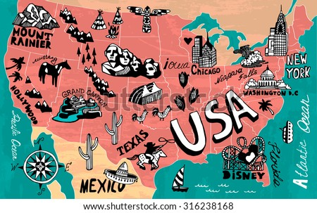 Illustrated map of USA