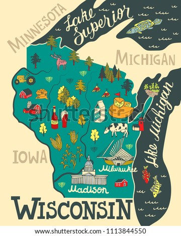 illustrated map of wisconsin