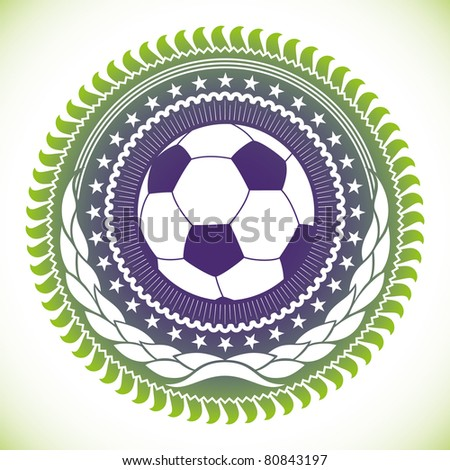Illustrated modish football emblem. Vector illustration.