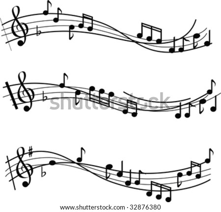 illustrated musical notes on sheet music design