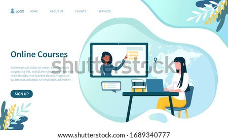 Illustrated online courses concept with woman on laptop. Vector illustration