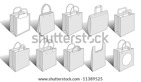 illustrated packaging items contains paper and plastic shopping bags. Check out my other versions