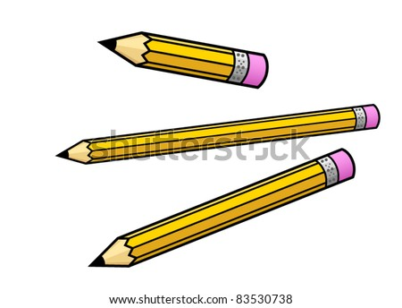 Illustrated Pencils of Various Lengths - Vector Illustration