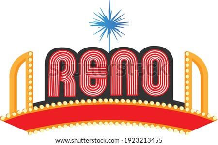 Illustrated Reno Nevada Welcome Sign Landmark Stock fotó ©