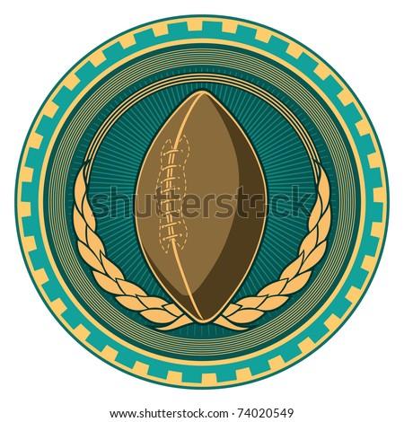Illustrated retro american football badge. Vector illustration.