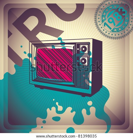 Illustrated retro background with tv. Vector illustration.
