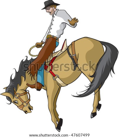 Illustrated saddle bronc rider. Vector file.
