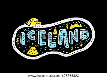 illustrated sign iceland with