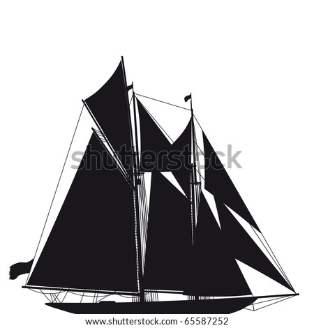 Illustrated silhouette of a classical sailing yacht
