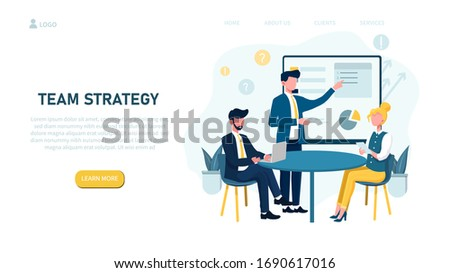 Illustrated team strategy concept with people in business meeting. Vector Illustration