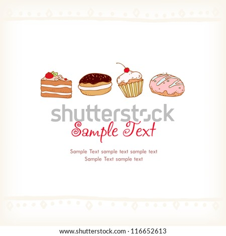 Illustrated text background with pastry. Template for design and decoration. Isolated images of sweets with place for your text