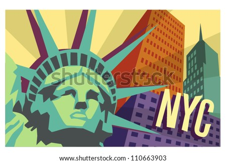 illustrated travel poster of NYC and Statue of Liberty - stock vector