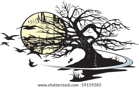 Illustrated tree and moon. Layered Vector file  available.