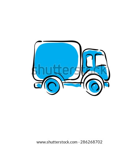 illustrated truck icon  vector