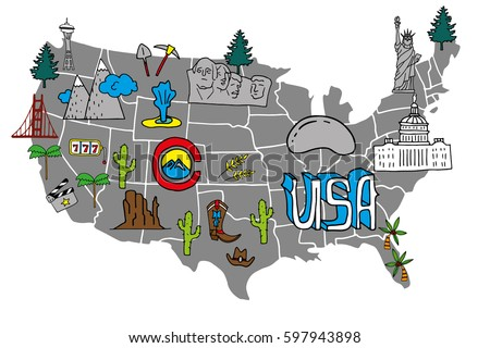 illustrated usa map   hand