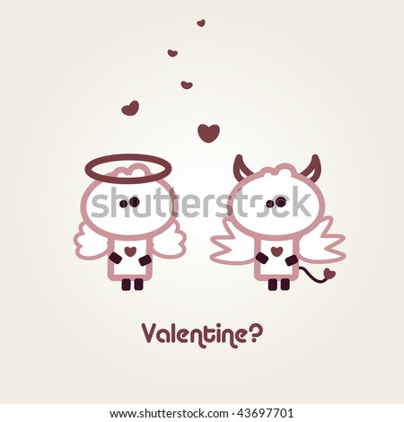 "Illustrated valentines card with ""Tiny Dude"" as Devil and Angel"