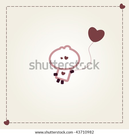 """Illustrated valentines card with """"Tiny Dude"""" flying away with heart balloon"""