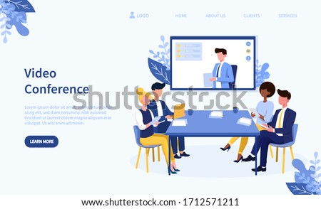 Illustrated video conference theme and team in online call. Vector illustration