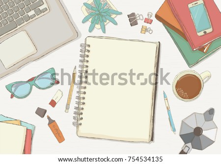 Illustrated workplace organization. Top view with textured table,phone, books, notepad, stickers, glasses, diary , coffee mug, plants. Desk vector illustration of office stationery.