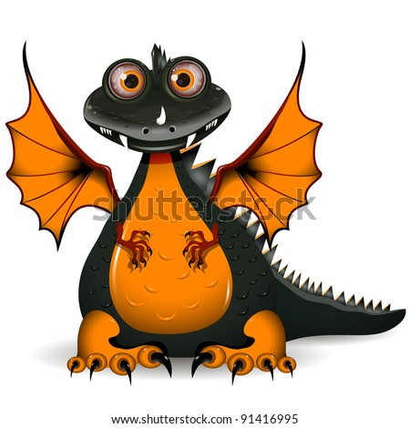 illustration a funny black dragon the symbol of the year