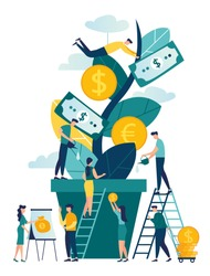 illustration, a growing tree with coins and money, caring for a tree watering coins, growing and making money, profit, the concept of financial management, a symbol of successful business vector