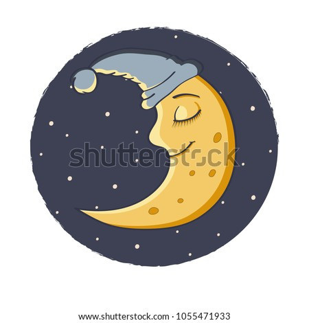 Illustration a Sleeping Moon. Happy Moon Cartoon Character In The Sky. Night, stars. Cute cartoon moon. Smiling moon.