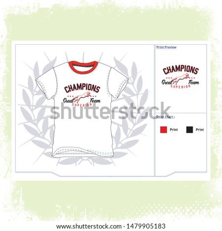 illustration about Great Champion Team slogan, t-shirt graphics, typography