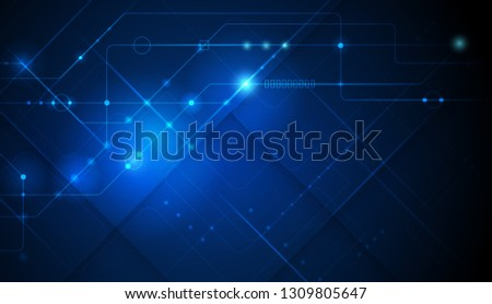Illustration abstract background, circuit board or motherboard. Vector design for abstract technology, communication, futuristic. Hi tech digital concept on dark blue background