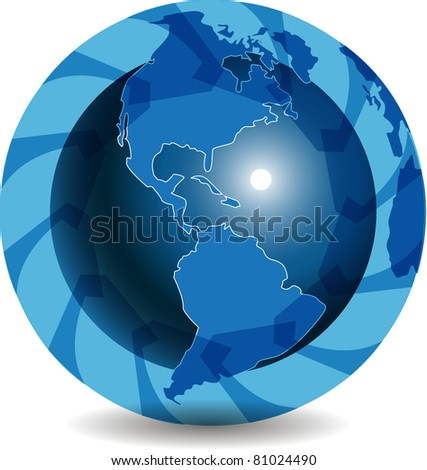 illustration, abstract blue globe with blue arrow