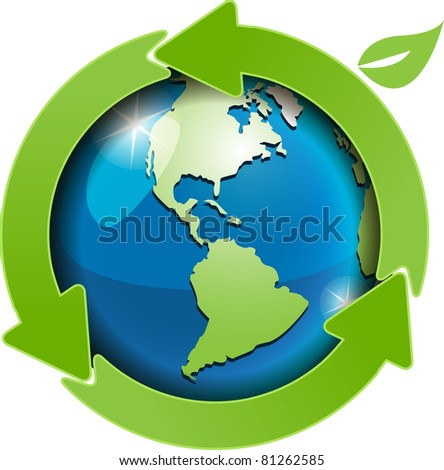 illustration, abstract green globe with green arrows
