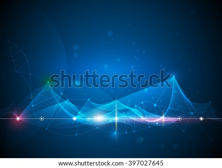 Illustration Abstract Molecules and 3D Mesh with Circles, Lines, Polygon shapes. Vector design communication technology on blue background. Futuristic- digital technology concept