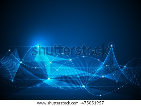 Illustration Abstract Molecules and Mesh lines, Circles, Polygon shapes. Vector design communication technology on blue background. Futuristic- digital technology concept
