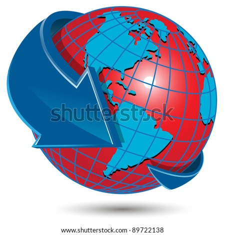 illustration abstract red globe on white background