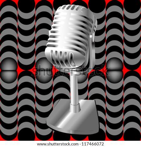 Illustration af a retro microphone over an optical art pattern