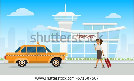 Illustration Airport / vector airport / A girl pulling her luggage on her way to ride a cab in front of an airport.
