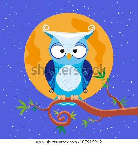 illustration an owl sits on a branch at night the moon shines