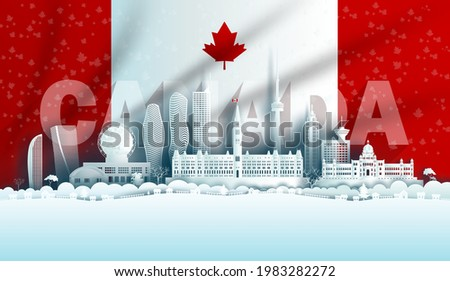 Illustration Anniversary celebration Canada day in maple leaf flag background with Travel landmarks architecture of Canada in Toronto and Ontario, in paper art, paper cut style. Vector illustration