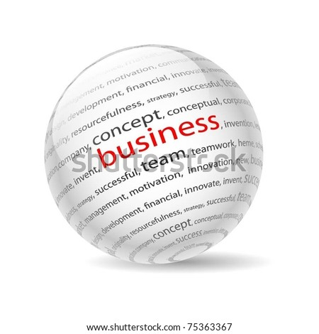 Illustration  ball with inscription business, on a white background. Vector.
