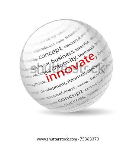 Illustration  ball with inscription innovate, on a white background. Vector. - stock vector