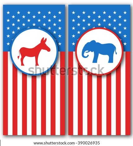 Illustration Banners with Donkey and Elephant as a Symbols Vote of USA. United States Political Parties - Vector