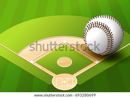illustration Baseball on Green Space Baseball field