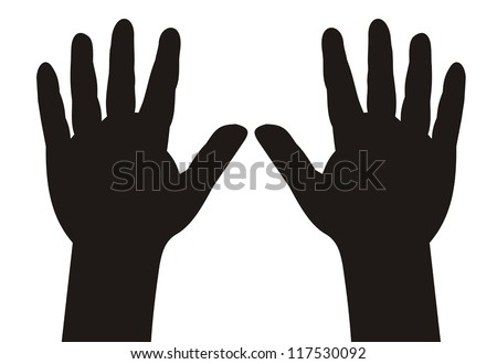 illustration - black silhouette child hands with five fingers spread - stock vector