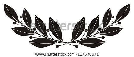 illustration - black silhouette of a laurel branch