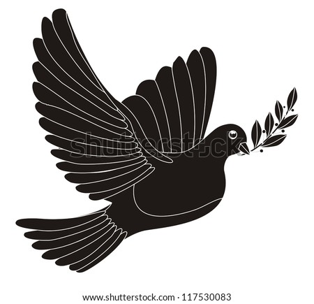 Illustration - black silhouette of a peace dove with laurel leaves