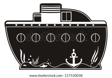illustration - black silhouette of a toy boat with anchor and portholes